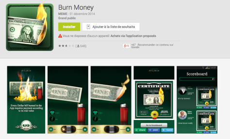 Burn Money Sur Google Pay