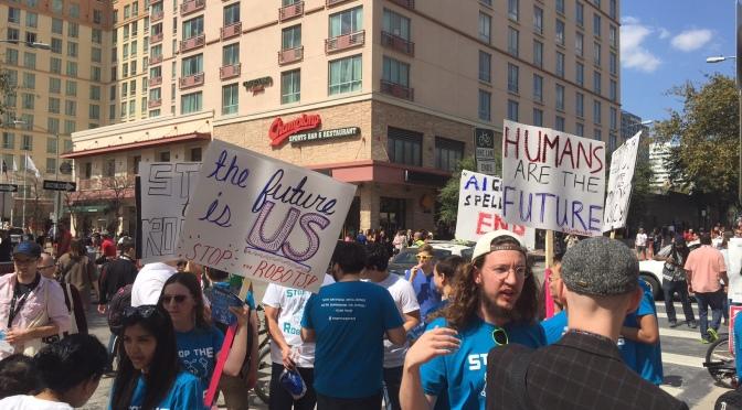 Fausse vraie manifestation  Anti-robot et Anti-IA à Austin